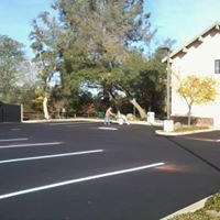 Parking lot with fresh pavement.